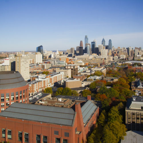 sky-high view of the Penn Campus looking east toward Center City Philadelphia