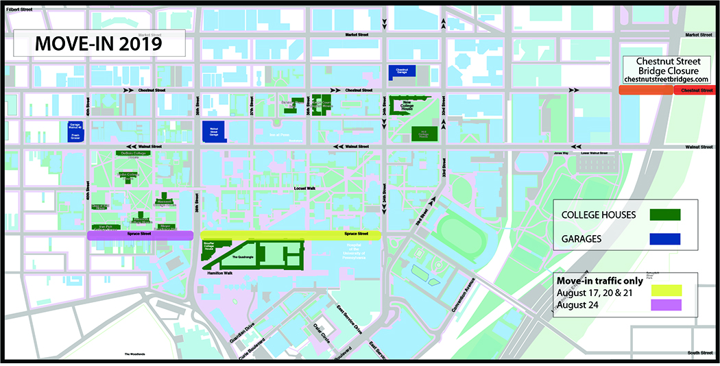 Map of Campus with Garage and College House Locations
