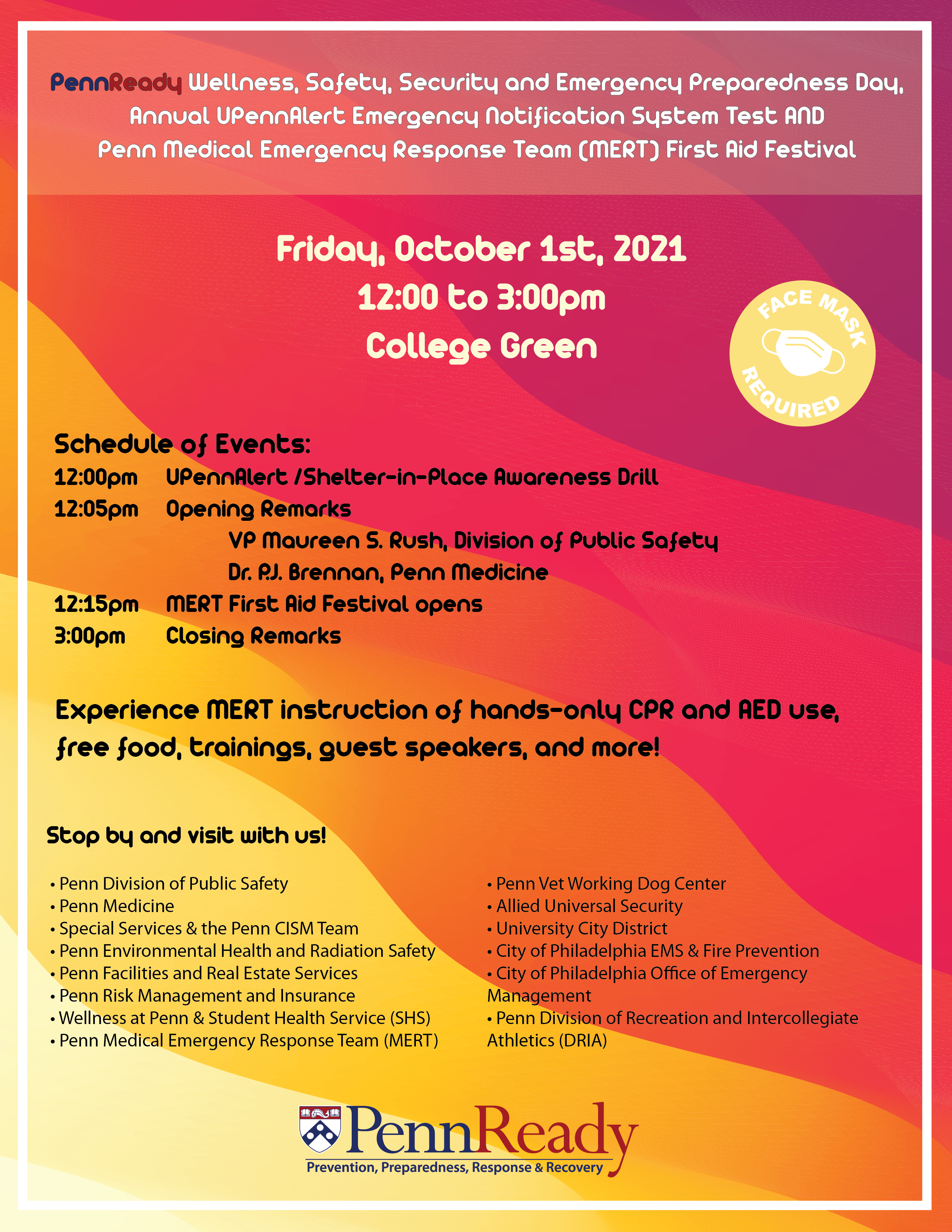 Poster for PennReady event: text same as article