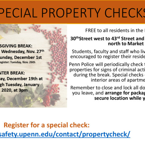 Special Property Checks - date/time/location details as listed on the webpage