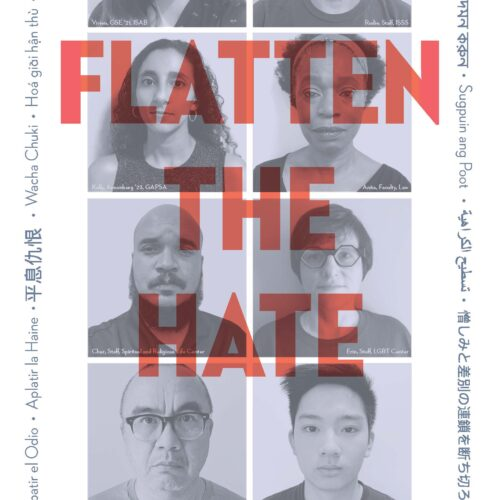 Poster - images of Penn Affiliates with text Flatten the Hate. Learn more here: https://global.upenn.edu/global-initiatives/task-force-support-asian-and-asian-american-students-scholars