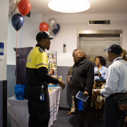 DPS Open House- greeting visitors